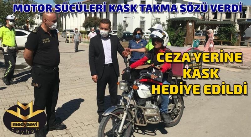 Motosiklet sürücülerine kask cezası yerine, KASK HEDİYE EDİLDİ